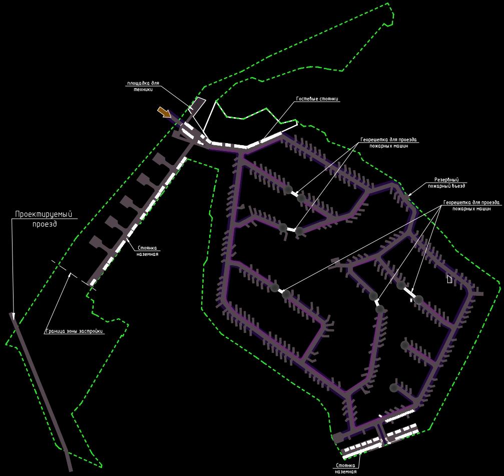 Схема генплана поселка.